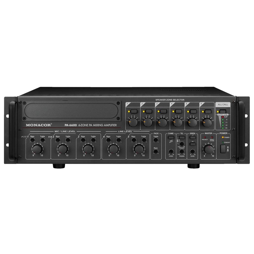 PA-6600 PA-forstærker 6 zoner monacor 100 volt og 4 ohm