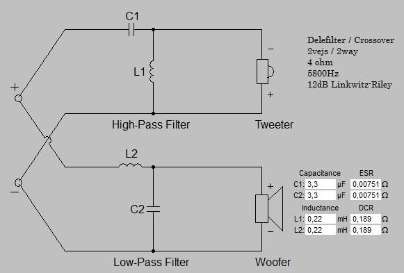 Billede af 2 vejs delefilter 5800 Hz 12 dB 4 ohm
