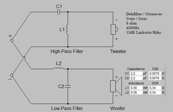 Billede af 2 vejs delefilter 4500 Hz 12 dB 8 ohm