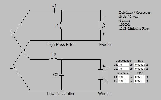 Billede af 2 Vejs delefilter 1900 Hz 4 ohm 12 dB