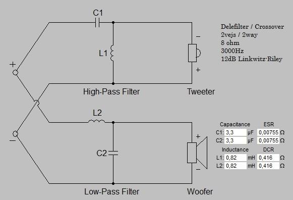 Billede af 2 vejs delefilter 3000 Hz 12 dB 8 ohm
