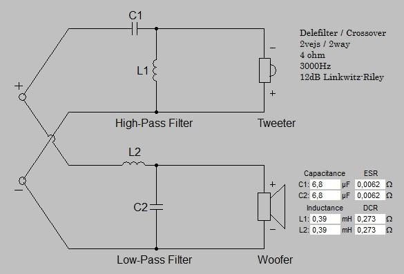 Billede af 2 vejs delefilter 3000 Hz 12 dB 4 ohm
