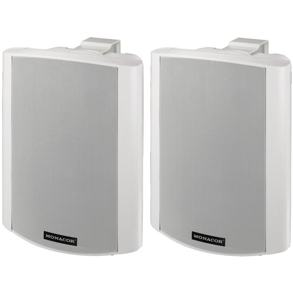 Hvide aktive højttaler med vægbeslag - MKA-80SET/WS