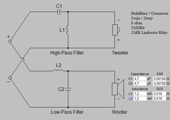Billede af 2 vejs delefilter 2100 Hz 8 ohm 12 dB
