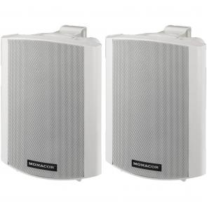 Aktive hvide højttaler med vægbeslag - MKA-60SET/WS