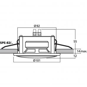 SPE-82/CR Indbygningshøjttaler crom Spot