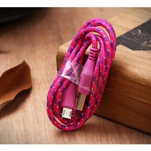 Micro-USB telefon lade og data kabel 1 meter pink/lilla