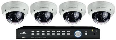 Video overvågning sæt 4 dome kamera