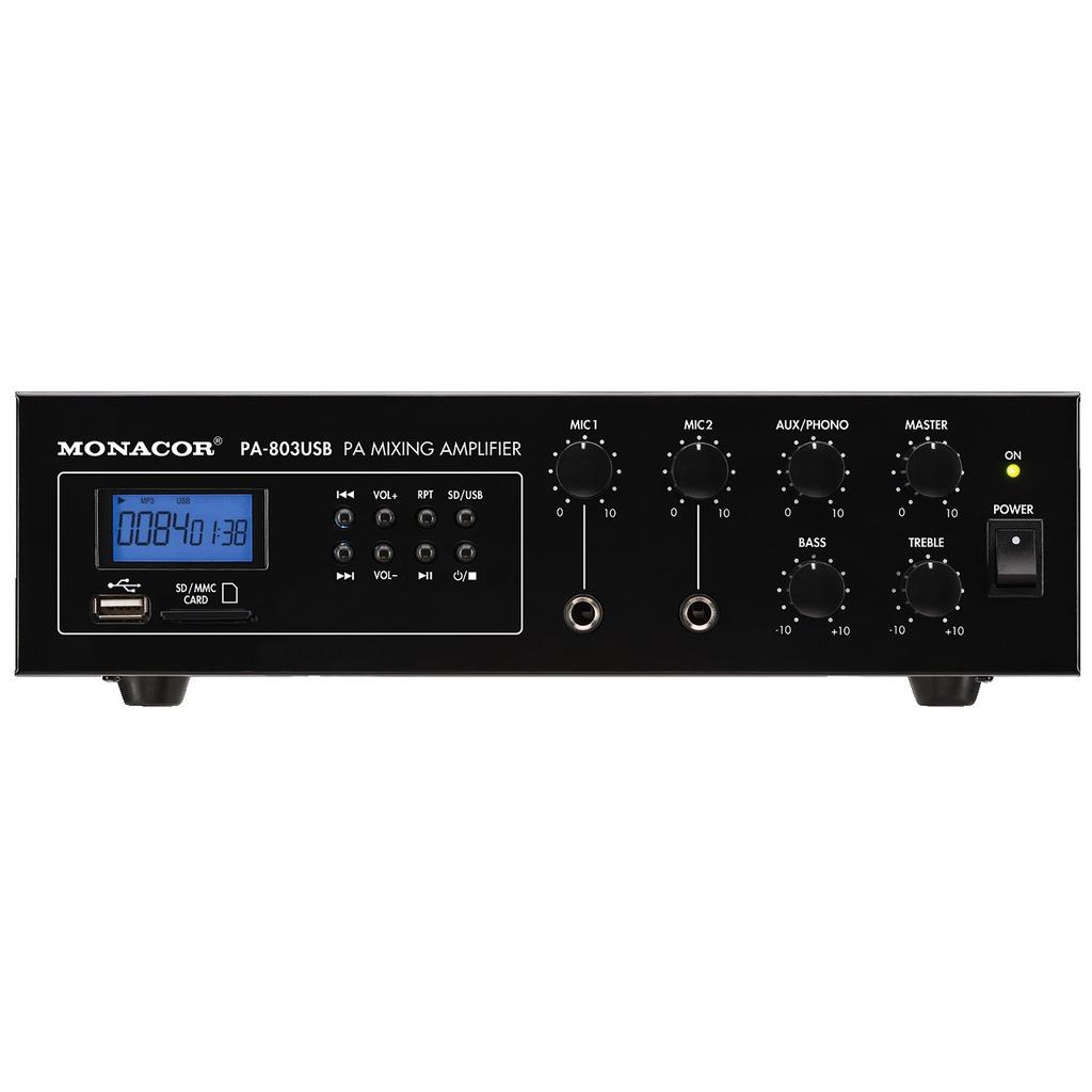 PA-forstærker 1 x 30 Watt - PA-803USB