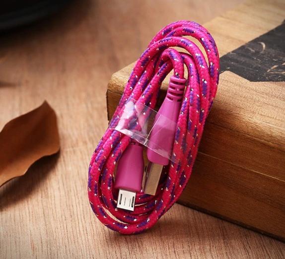 Micro-USB telefon lade og data kabel 1 meter pink/lilla thumbnail