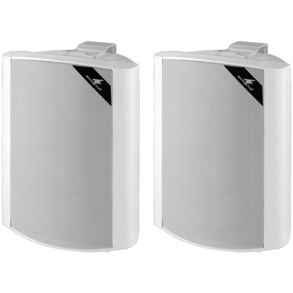 Hvid højttaler med vægbeslag - MKS-88/WS