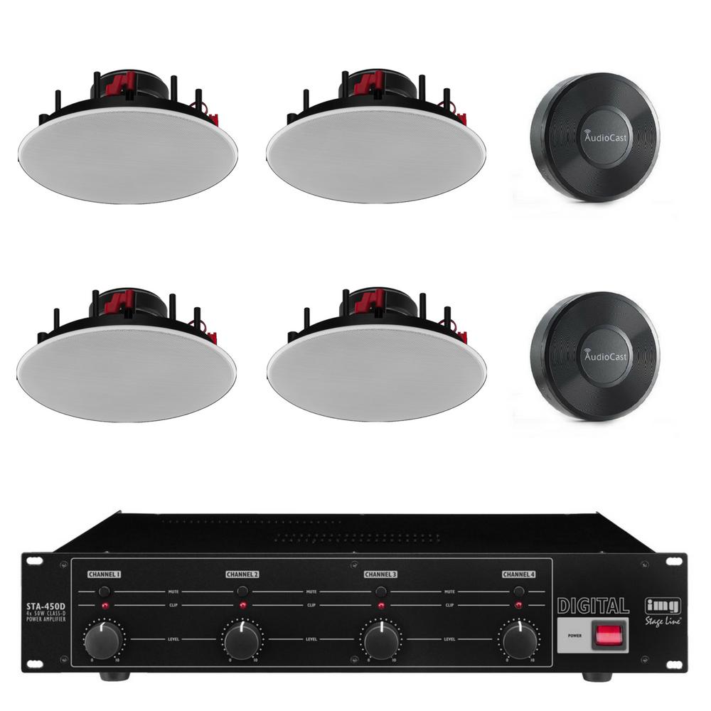 Multirums lydpakke Wifi og indbygning - 2 zoner, 4 højttaler