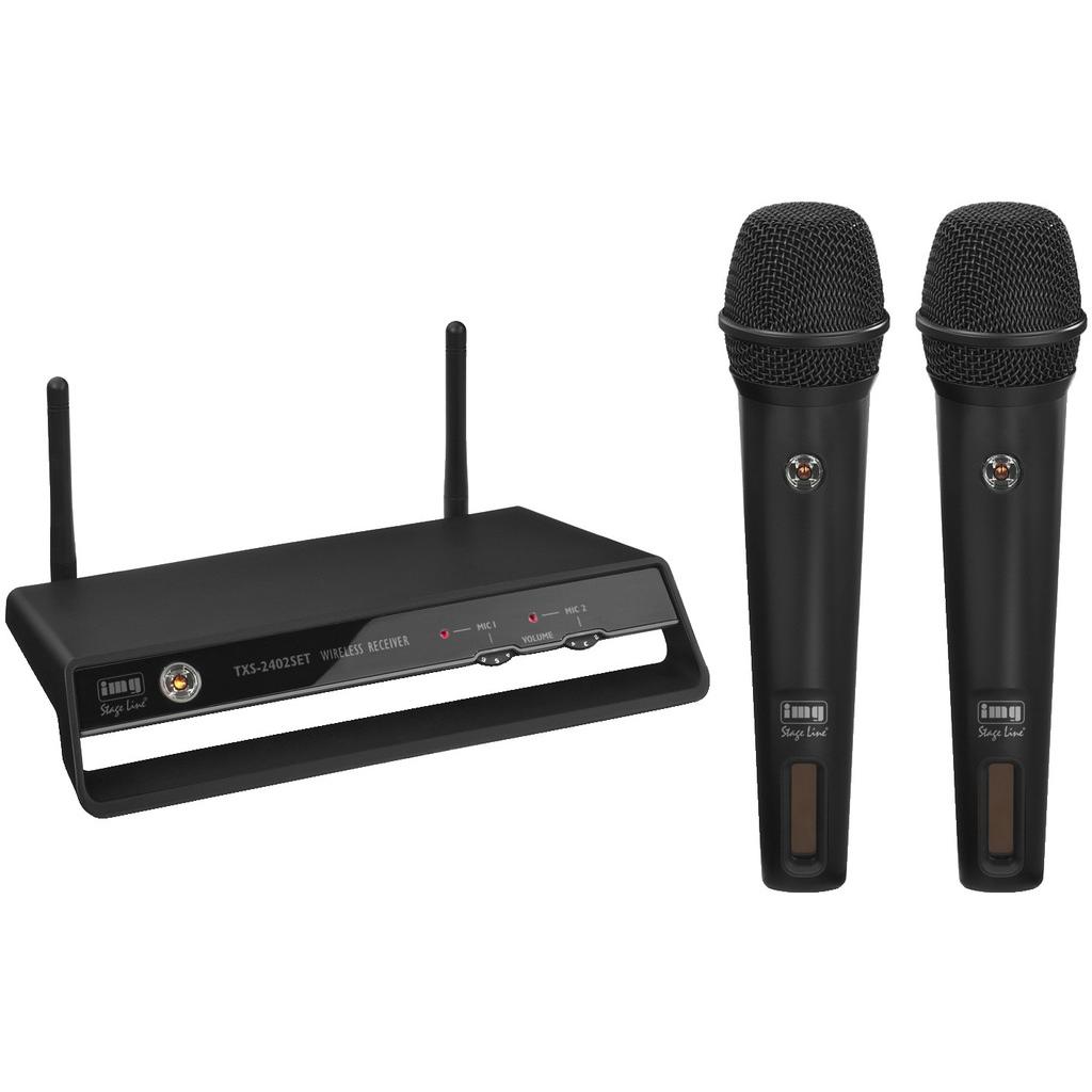 Trådløst mikrofonsæt med 2 hånd mikrofoner 2.4GHz TXS-2402SET